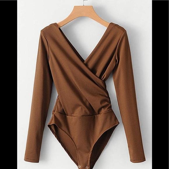 Low Cut Ribbed Bodysuit NEW